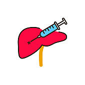 Biopsy liver color line icon. Medical and scientific concept. Laboratory diagnostics. Pictogram for web, mobile app, promo. UI UX design element