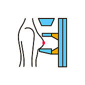 Mammography color line icon. Medical and scientific concept. Laboratory diagnostics. Pictogram for web, mobile app, promo. UI UX design element.
