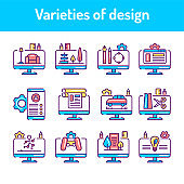 Types of design color line icons set. Pictograms for web page, mobile app, promo.