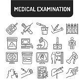 Medical tests black line icons set. Laboratory diagnostics. Pictograms for web, mobile app, promo. UI UX design element.
