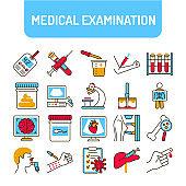 Medical tests color line icons set. Laboratory diagnostics. Pictograms for web, mobile app, promo. UI UX design element