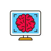 Mri brain color line icon. Medical and scientific concept. Laboratory diagnostics. Pictogram for web, mobile app, promo. UI UX design element