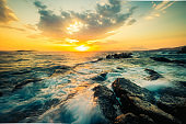 Beautiful seascape with rocks and waves