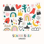 Scandi baby collection, scandinavian abstract shapes set, doodle hand drawn illustrations of rainbow, mountain, isolated vector illustration, cute scribble drawing, minimalist nordic design