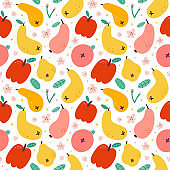Apple pear fruit pattern, bright summer print, seamless vector pattern, ornament for kitchen textile, colorful background, fresh sweet juicy fruits, red apples and yellow and pink fruit