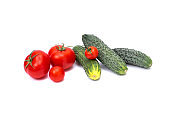 "Tomato with cucumber on white background with clipping path. Ripe vegetables isolated on white background. Tomatoes, cucumber on isolated on white background.""n"