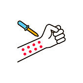 Allergen test color line icon. Medical and scientific concept. Laboratory diagnostics. Pictogram for web, mobile app, promo. UI UX design element.
