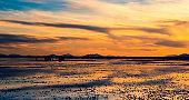 Evening landscape of Salar de Uyuni sunset