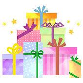 Cute present box illustration in watercolor style
