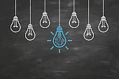 Innovative Idea Concepts with Light Bulb on Chalkboard Background