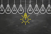 Solution Idea Concepts with Light Bulb on Chalkboard Background