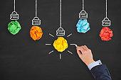 Creative Idea Concepts Light Bulb Crumpled Paper on Blackboard
