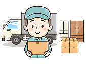 Delivery service, mover, postman, loader worker or courier delivering packages, helps with shipment, home moving, transportation, cargo, loading carton boxes into a truck.
