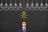 Innovative idea concepts with light bulbs on a chalkboard background