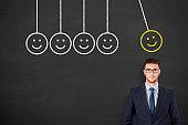 Unhappy and Happy over Human Head on Blackboard