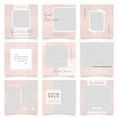 instagram and facebook square frame puzzle poster. social media post banner for fashion sale promotion. abstract pink color background vector illustration