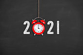 New Year Concepts 2021 Countdown Clock on Chalkboard Background