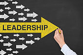 Leadership Concepts with Arrows on Chalkboard Background