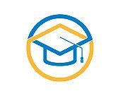 Circle shape with graduation hat inside