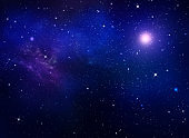 deep space, abstract blue background with clouds and stars