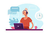 Woman with headphone and computer, call center, customer service and support. Flat vector illustration concept of distance work, distance education, telemarketing