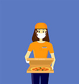The girl delivers the food. Girl in a mask and gloves. Delivery of pizza to the door. Customer Commercial Order Concept for web Banner Infographics Images. Flat style illustration or icon. EPS 10.