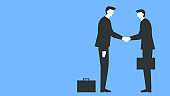 Vector illustration of a two people meeting and shaking hands. Two businessmen in suits and with briefcases handshake on a business meeting. Represents concept of trust, making a deal, bargain, trade