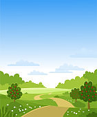 Hello, autumn. Fruit trees with a crop on a farm. Green hills and meadows, blue sky with clouds, apples on the trees. Card with a summer landscape. Flat vector illustration.