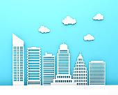 white paper skyscraper building modern city
