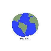 Sad planet earth says I'm fine slogan print illustration