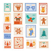 Christmas holiday vector postage stamps, postcard design elements, winter letter post, santa, snowflakes, xmas tree, party tag collection, snowman decoration doodle scrapbook print set, new year card