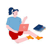 Young Female Student Study in School Library or at Home Using Laptop and Learning Online. Girl Sitting on Floor with Books Scattered around Watching Video or Reading Cartoon Flat Vector Illustration