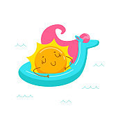 Kawaii Sun Character Floating on Inflatable Unicorn Mattress. Cute Cartoon Personage Summer Relax, Summertime Activity and Spare Time. T-shirt Print Isolated on White Background. Vector Illustration
