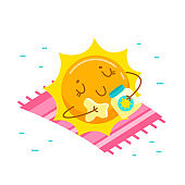 Cute Cartoon Sun Character Applying Cream for Tan. Kawaii Personage Take Sunbath on Summer Vacation. Summertime Activity and Spare Time. T-shirt Print Isolated on White Background. Vector Illustration