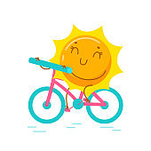 Kawaii Sun Personage Riding Bicycle Isolated on White Background. Cute Cartoon Summer Character Summertime Holidays Activity Biking Spare Time. T-shirt Print, Icon or Badge. Vector Illustration