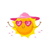 Cute Sun Wearing Heart Shaped Sunglasses and Hat Relaxing on Beach. Cartoon Kawaii Character Summer Activity and Summertime Spare Time. T-shirt Print Isolated on White Background. Vector Illustration