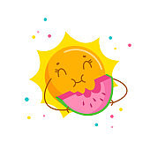 Funny Sun Enjoying Eating Watermelon. Cute Cartoon Character Summertime Activity, Kawaii Personage Relaxing on Summer Time Holidays. T-shirt Print Isolated on White Background. Vector Illustration