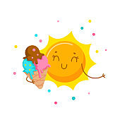 Cute Sun Eating Ice Cream. Cartoon Character, Kawaii Personage Enjoying Summer Spare Time, Sweet Food. Summertime Activity and Relax T-shirt Print Isolated on White Background. Vector Illustration