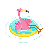 Cute Pink Flamingo Float Inflatable Ring Isolated on White Background. Cartoon Character Summer Vacation. Kawaii Bird Summertime Activity and Resort Spare Time, T-shirt Print. Vector Illustration