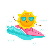 Cute Cartoon Sun Character Wearing Heart Sunglasses Riding Surf Board. Kawaii Personage Summer Summertime Activity and Spare Time. T-shirt Print Isolated on White Background. Vector Illustration