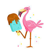 Cute Pink Flamingo Eating Chocolate Ice Cream Cartoon Character on Summer Vacation. T-shirt Print, Kawaii Personage Summertime Activity and Spare Time Isolated on White Background. Vector Illustration