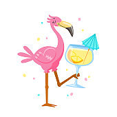 Pink Flamingo Drinking Cocktail. Cartoon Kawaii Bird Character on Summer Vacation. Cute Personage Summertime Activity and Spare Time. T-shirt Print Isolated on White Background. Vector Illustration