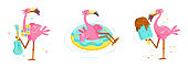 Set of Pink Flamingo Play Ukulele, Float Inflatable Ring and Eating Ice Cream. Cartoon Character Summer Vacation. Kawaii Personage Activity and Spare Time. Cute Bird T-shirt Print. Vector Illustration