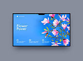 Landing Page Design with Pink Cherry Flowers on Blue Background. Website Template for Florist Shop or Spa Procedure, Nature, Organic Natural Blossoms or Bouquets Delivery Service. Vector Illustration