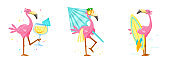 Set Cute Pink Flamingo Drink Cocktail, Carry Umbrella and Surf Board. Cartoon Character Summer Vacation. Kawaii Personage Summertime Activity and Spare Time. T-shirt Print, Label. Vector Illustration