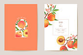 Wedding peach floral vector card, exotic fuits, flowers, leaves invitation. Watercolor template frame. Botanical Save the Date foliage cover, modern poster, trendy design, luxury background
