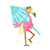Cute Cartoon Pink Flamingo in Funny Sunglasses with Towel and Umbrella Walk to Beach. Character Summer Vacation. Kawaii Personage Summertime Activity and Spare Time. T-shirt Print Vector Illustration