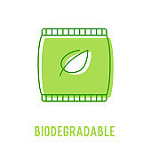 Biodegradable Organic Waste Concept. Recycling Plastic Bag with Green Leaf Isolated on White background. Icon for Ecological Poster, Bio Banner or Nature Protection Brochure. Vector Illustration