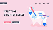 Stomatology Clinic Care Service, Dentistry Landing Page Template. Tiny Dentist Doctor Characters Cleaning and Polishing Huge Tooth with Toothbrush. Caries Prevention. Cartoon Vector Illustration