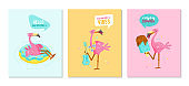 Set of Hello Summer Banners with Pink Flamingo Play Ukulele, Float Inflatable Ring and Eating Ice Cream. Cartoon Character Summertime Vacation. Kawaii Cute Bird Summer Vibes. Vector Illustration